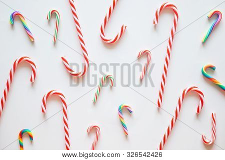 Holiday Christmas Card Background With Festive Decoration On A White Background From Flat Lay, Top V