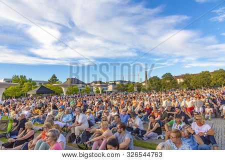 Darmstadt, Germany - June 5, 2019: People Enjoy The Open Air Concert By The Philharmonic Orchestra O