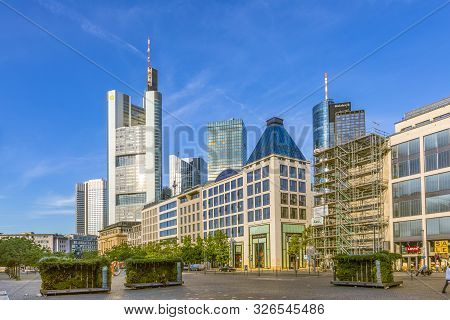 Frankfurt, Germany - July 23, 2019: View To Skyline Wof Frankfurt With Famous Skyscraper Built By Th