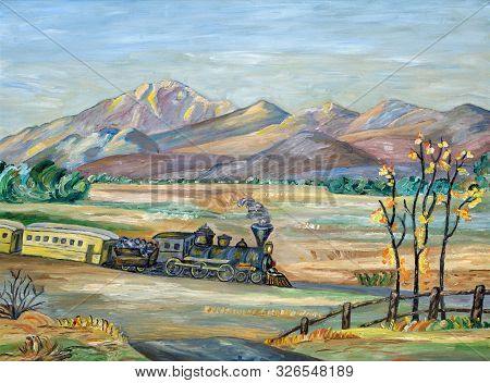 Naive Painting Of An Old Western Steam Train Travelling Though A Mountainous And Arid Landscape.