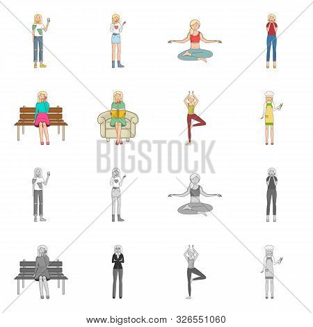 Isolated Object Of Posture And Mood Logo. Set Of Posture And Female Stock Vector Illustration.