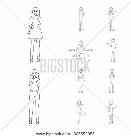 Vector Illustration Of Posture And Mood Symbol. Collection Of Posture And Female Stock Symbol For We