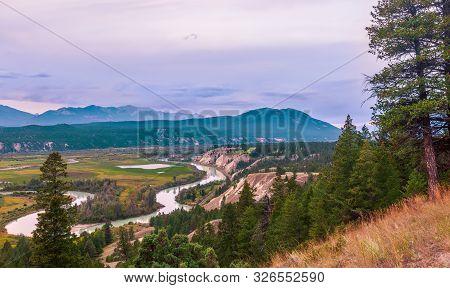 View Of Columbia River. Radium Hot Springs. British Columbia. Canada
