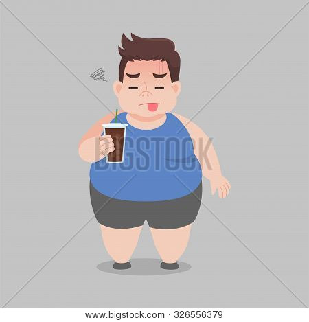 Big Fat Man Drinking Black Coffee For Slender Body, Ice America No, No Sugar, Not Delicious, Bitter,