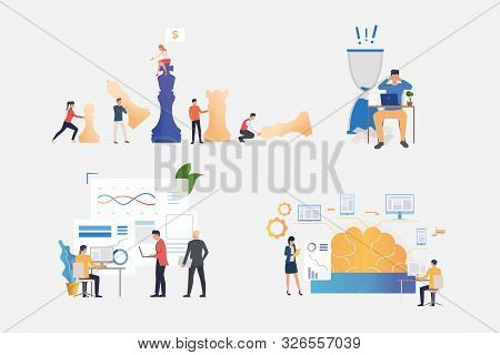 Professionals Working On Startup Illustration Set. Businesspeople Working At Night, Studying Brainwo