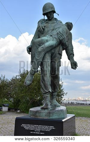 Jersey City, Nj - Aug 4: Liberation Monument At Liberty State Park In Jersey City, New Jersey, As Se
