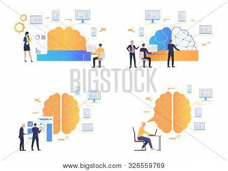 Brainwork Illustration Set. People Working On Computer, Studying Brain Work, Thinking Over New Ideas