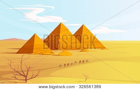 Desert Landscape With Egyptian Pyramids And Camels Caravan, Cartoon Vector Illustration. Hot Golden