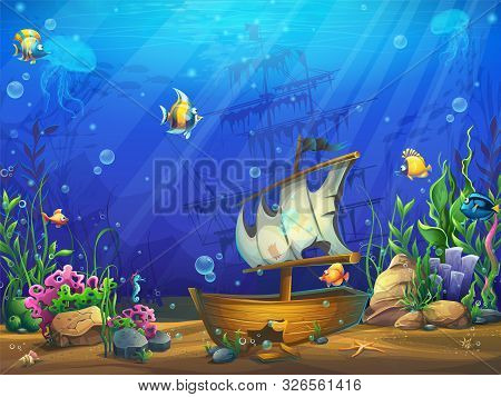 Vector Horizontal Illustration Of The Underwater Ocean With A Sunken Schooner. Bright Background Ima