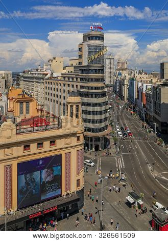 Madrid, Spain - June 4, 2017: Aerial View Of The Iconic Edificio Carrion Or Capitol Building With Sc
