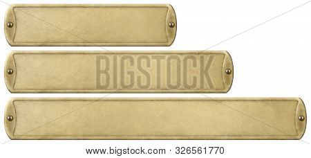 Gold or brass old metal plates set isolated with clipping path included