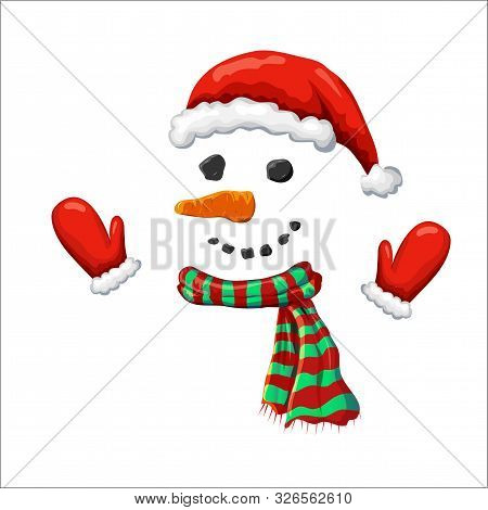 Vector Cute Simple Xmas Snowman Illustration. Snowman Face With Red Santa Hat Striped Holiday Scarf