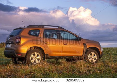 Nowogard, Poland-october 2019: New Suv Model Dacia Duster During Off-road Driving