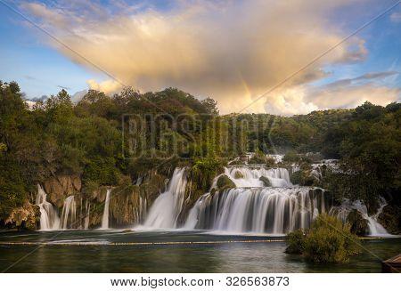 Krka National Park-panorama Of The Waterfall Against The Beautiful Evening Sky,skradinski Buk Waterf
