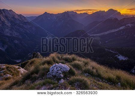 Julian Alps At Sunset Seen From Mangart