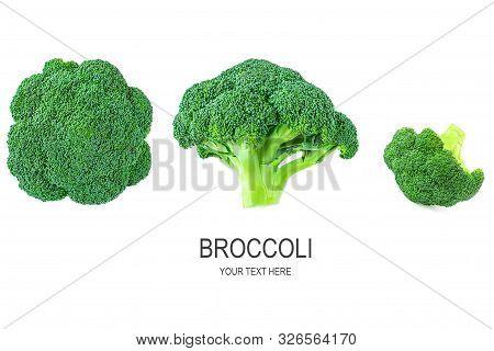 Fresh Broccoli. Green Brocoli Vegetables Isolated On White Background.
