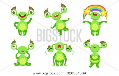 Funny Little Monster With Different Emotions Set, Cute Green Mutant Cartoon Character Vector Illustr