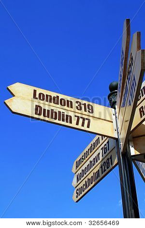 Sign with direction and distances of European cities