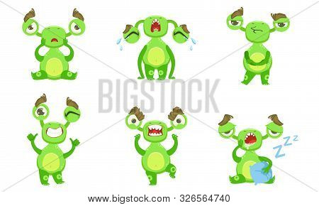 Funny Little Monster With Different Emotions Set, Green Mutant Cartoon Character Vector Illustration