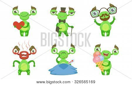 Funny Little Monster With Various Emotions Set, Green Mutant Cartoon Character In Different Situatio