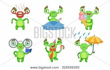 Funny Little Monster With Various Emotions Set, Cute Green Mutant Cartoon Character In Different Sit