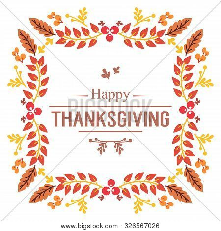 Template Invitation Card Of Thanksgiving, With Ornament Of Autumn Leaves Frame. Vector