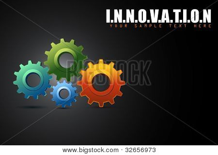 illustration of colorful cogwheel in innovation concept background