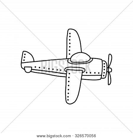 Bright Banner Small Plane With One Propeller. Drawn Cartoon Design Black Bold Pencil, Aircraft For O