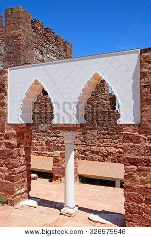 View Of The Medieval Ruins Inside The Castle Showing The Vaulted Moorish Windows Of The Palace Of Ba