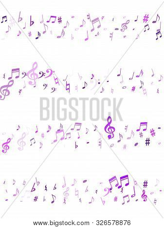 Violet Flying Musical Notes Isolated On White Backdrop. Purple Musical Notation Symphony Signs, Note