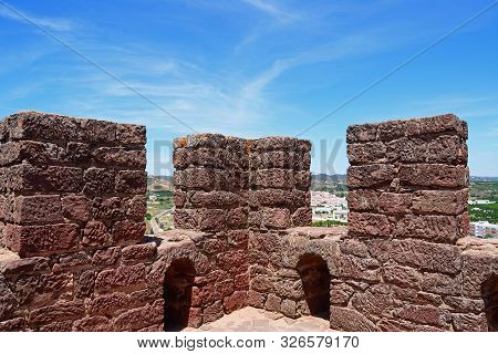 Medieval Castle Battlements Inside One Of The Towers With Views Over The Countryside, Silves, Portug