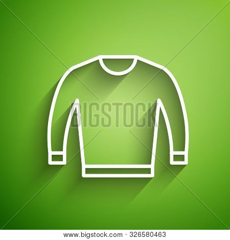 White Line Sweater Icon Isolated On Green Background. Pullover Icon. Vector Illustration