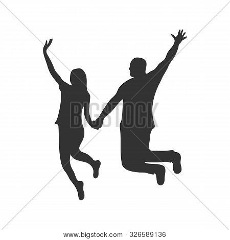Vector Silhouette Of The Young Beautiful Couple. Couple Of Woman And Man Jumping
