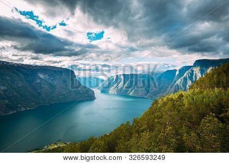 Sogn And Fjordane Fjord, Norway. Amazing Summer Scenic View Of Sogn Og Fjordane. Famous Norwegian La