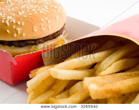Burger And Fries In Cardboard