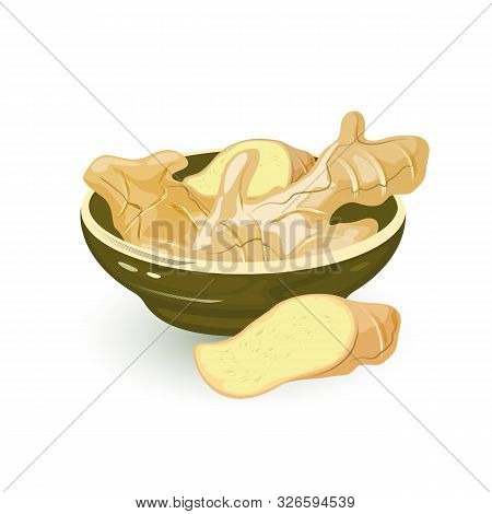 Wedges Of Fresh Ginger Rhizome Are In Ceramic Bowl And Near It, Using As Spice In Cooking And For Tr