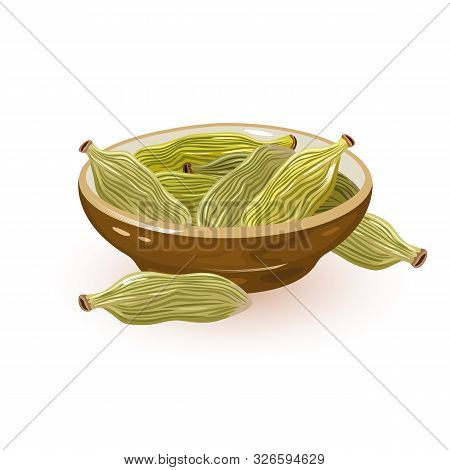 Green Cardamom Or Cardamon Pods Are In Ceramic Bowl And Near It. Spice Having Strong, Unique Taste,