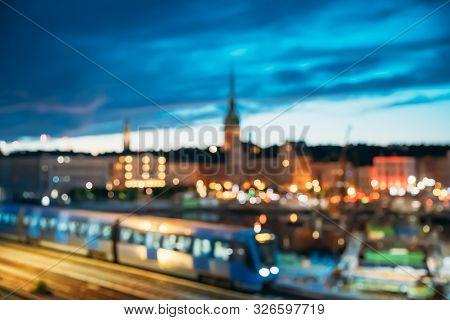 Stockholm, Sweden. Night Skyline Abstract Boke Bokeh Background. Design Backdrop. Subway Train.