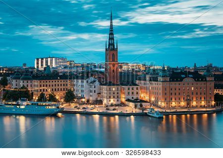 Stockholm, Sweden. Scenic View Of Stockholm Skyline At Summer Evening. Famous Popular Destination Sc