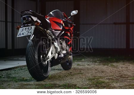 Krasnoyarsk, Russia - September 27, 2019: Red And Black Sportbike Honda Cbr 600 Rr 2005 Pc37 On The