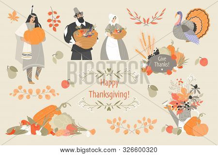 Thanksgiving Illustrations Set With Cute Pilgrim And Native American Characters, Plant And Vegetable