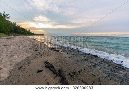 Historic Shipwreck On Great Lakes Coast. Shipwreck Of The Ill Fated Wooden Iron Ore Ship The Joseph