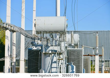 Electric Power Station Transformer High-voltage Equipment Strategic Object Power Unit. Power Station