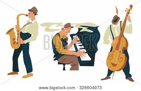 Jazz Or Blues Band Players Set. Isolated Objects On White Background. Vector Illustration. Exaggerat