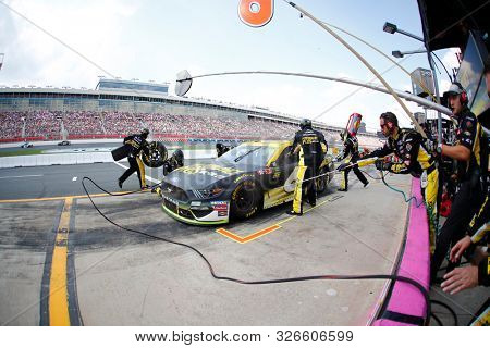 September 29, 2019 - Concord, North Carolina, USA: Ryan Newman (6) pit crew does a pit stop during the Bank of America ROVAL 400 at Charlotte Motor Speedway in Concord, North Carolina.