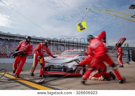 September 28, 2019 - Concord, North Carolina, USA: Michael Annett (1) makes a pit stop for the Drive for the Cure 250 presented by Blue Cross Blue Shield of North Carolina at Charlotte Motor Speedway
