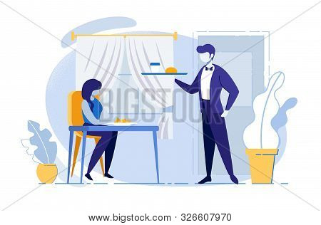 Woman Sitting At Table In Cafe Waiting Order. Waiter Carry Tray With Food And Drink. Coffee Break, R