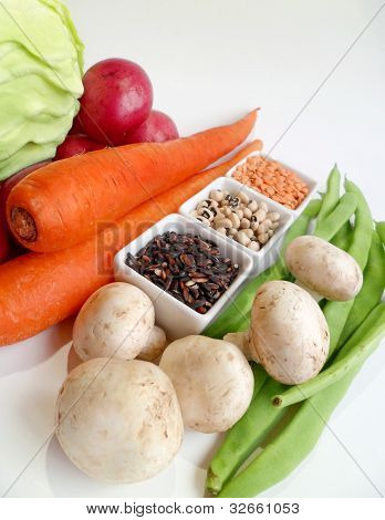 Vegetables With Rice, Bean And Lentil