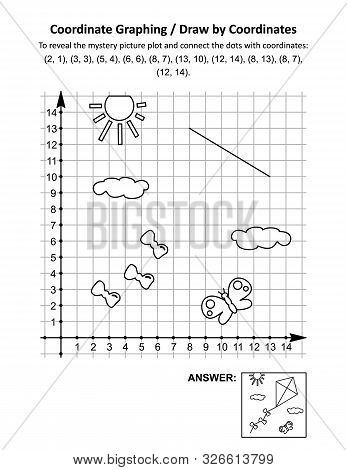 Coordinate Graphing, Or Draw By Coordinates, Math Worksheet With Flying Kite: To Reveal The Mystery