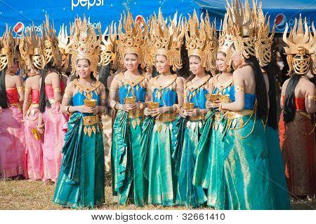 Beautiful Surin Thai Dancers Standing